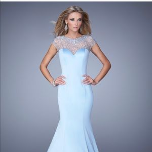 La Femme ice blue pageant prom dress
